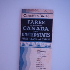 Coleccionismo: FARES TO AND FROM CANADA AND UNITED STATES CANADIAN PACIFIC, 1930 EMPRESS OF BRITAIN. Lote 74892511