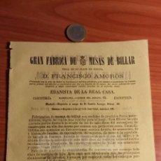 Coleccionismo: BARCELONA -ANUNCIO- FABRICA D MESAS DE BILLAR FRANCISCO AMOROS, EBANISTA CASA REAL -AÑO1863(RFAN31)*. Lote 75050395