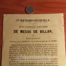 Coleccionismo: BARCELONA -ANUNCIO- FABRICA Y ALMACENES DE MESAS DE BILLAR DE JOSE GIRALT -AÑO 1863- (REFAN31)**. Lote 75051451