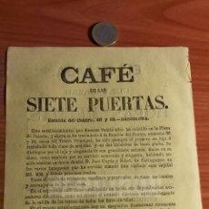 Coleccionismo: BARCELONA -ANUNCIO- CAFE DE LAS SIETE PUERTAS DE JOSE CUYAS Y RIBOT -AÑO 1863- (REFAN32)**. Lote 75057667