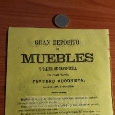 Coleccionismo: BARCELONA -ANUNCIO- DEPOSITO DE MUEBLES DE JUAN TARGA, TAPICERO ADORNISTA -AÑO 1863- (REFAN32)**. Lote 75059243