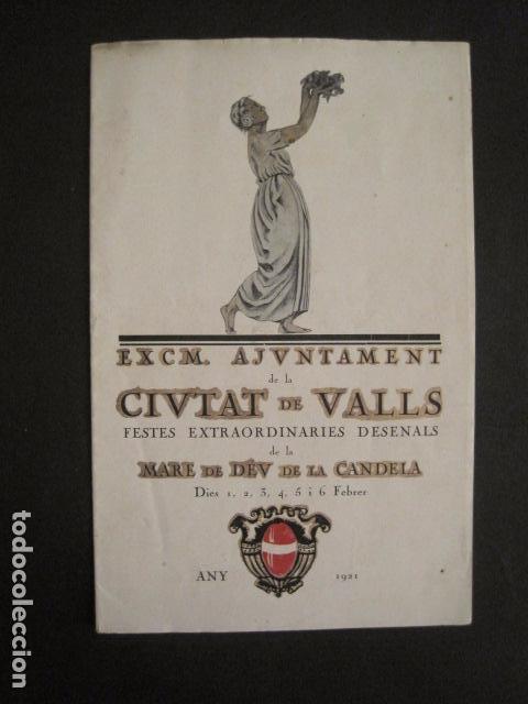 VALLS - PROGRAMA FESTES DESENALS MARE DE DEU CANDELA - FEBRER 1921-VER FOTOS -(V-9012) (Coleccionismo - Varios)