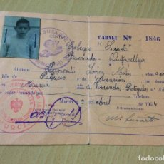 Coleccionismo: CARNET ENSEÑANZA PRIVADA MURCIA ESCOLAR COLEGIO QUITAPELLEJOS MURCIA 1954. Lote 76536067
