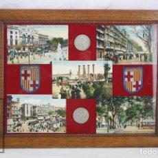 Coleccionismo: CUADRO / COMPOSICIÓN CON 5 ANTIGUAS POSTALES DE BARCELONA, 2 PARCHES Y 2 MONEDAS ALFONSO XIII, S XIX. Lote 77217821