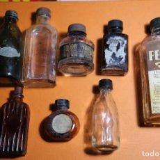 Coleccionismo: LOTE DE 8 BOTELLAS ANTIGUAS, JARABE, TINTA, GOTAS...VER FOTOS. Lote 77738217
