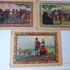 Coleccionismo: TRES LAMINAS ANTIGUAS TRAJES TIPICOS REGION . Lote 77906373