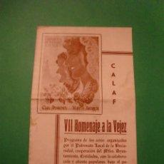 Coleccionismo: CALAF VII HOMENAJE A LA VEJEZ - PROGRAMA DE ACTOS 7 JUNIO DE 1953. Lote 78165753
