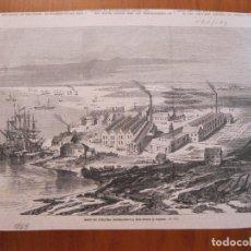 Coleccionismo: VISTA DE UNA FÁBRICA EN LA CIUDAD Y PUERTO FLUVIAL DE FRAY BENTOS (URUGUAY), 1869.. Lote 78235597