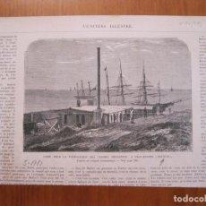 Coleccionismo: DETALLE DE LA FÁBRICA DE CARNE EN LA CIUDAD Y PUERTO DE FRAY BENTOS (URUGUAY), 1866. Lote 78235845