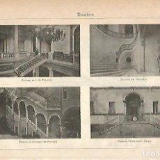 Coleccionismo: LAMINA ESPASA 18848: ESCALERAS DE DIFERENTES PALACIOS. Lote 78469193