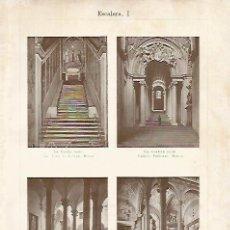 Coleccionismo: LAMINA ESPASA 18850: ESCALERAS DE GENOVA Y ROMA. Lote 78469230