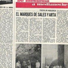 Coleccionismo: AÑO 1966 RECORTE PRENSA MALLORCA EL MARQUES DE SALES ARTA MURALLAS ALCUDIA. Lote 78952877