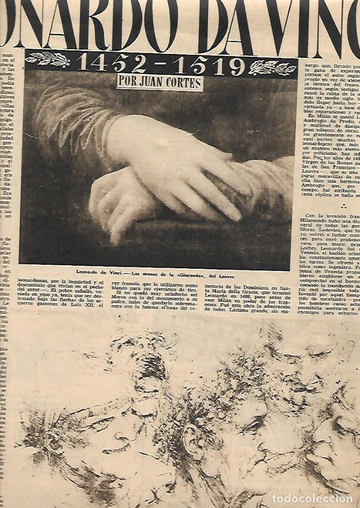 año 1952 recorte prensa arte leonardo da vinci - Comprar Documentos ...