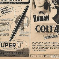 Coleccionismo: AÑO 1952 RECORTE PRENSA PLUMA ESTILOGRAFICA SUPER T MANUEL PORTUS TORELLO. Lote 79148525