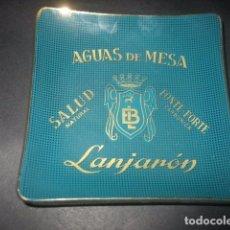 Coleccionismo: ANTIGUO PLATITO O CENICERO DE CRISTAL AGUAS DE MESA LANJARON. SALUD NATURAL. FONTE-FORTE CARBONICA. Lote 79571145