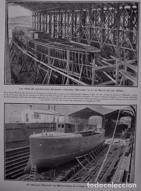 1910-19-CAÑONERO RECALDE DIQUE FLOTANTE ARSENAL CARTAGENA-MITIN FRONTÓN JAI-ALAI MADRID-MUELLE GIJÓN (Coleccionismo - Laminas, Programas y Otros Documentos)