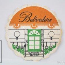 Coleccionismo: POSAVASOS PUBLICITARIO - BELVEDERE, BARCELONA - DIÁMETRO 9,5 CM. Lote 80100289
