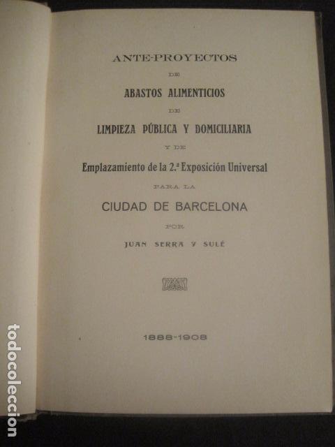 Coleccionismo: BARCELONA 1888- 1909 - PROYECTO ABASTOS ALIMENTICIOS Y LIMPIEZA- MUCHOS MAPAS - VER FOTOS - (V-9721) - Foto 12 - 80114569