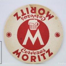 Coleccionismo: POSAVASOS PUBLICITARIO - CERVEZA MORITZ - BARCELONA - DIÁMETRO 10 CM. Lote 80172285