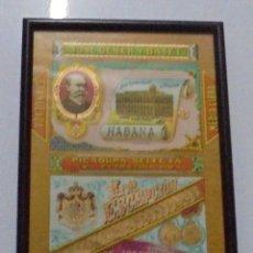 Coleccionismo: ENVOLTORIO DE MEDIA LIBRA DE TABACO LA ESCEPCION. JOSE GENER. ENMARCADO. 21 X 28CM. Lote 80181973