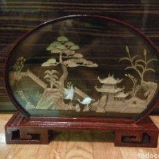 Coleccionismo: DIORAMA PAISAJE JAPONES CHINO EN RELIEVE MADERA Y CORCHO. Lote 80328494