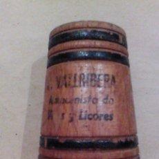 Coleccionismo: ANTIGUO PALILLERO BARRILETE DE MADERA A. VALLRIBERA ALMACENISTA VINOS Y LICORES SIN DUDAR ALVEAR. Lote 80660370