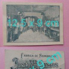 Coleccionismo: TARJETA PUBLICITARIA FABRICA DE SOMBREROS DE JOSE Mª SANTOS - LITOGRAFIA BIOMBO (MADRID) - PS. S. XX. Lote 81577808