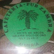Coleccionismo: POSAVASO ANTIGUO DE COLECCIÓN BAR RESTAURANTE CAFETERÍA POSAVASOS CERVECERIA PUP ZAMBRA ALMERIA. Lote 82230496