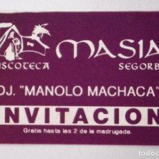Coleccionismo: FLYER INVITACIÓN ORIGINAL DISCOTECA LA MASÍA D.J. MANOLO MACHACA MORADO RUTA BAKALAO RUTA DESTROY. Lote 85928212