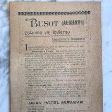 Coleccionismo: FOLLETO PUBLICITARIO FINALES S.XIX - BUSOT SANATORIO Y BALNEARIO Y GRAN HOTEL MIRAMAR ALICANTE. Lote 87232614