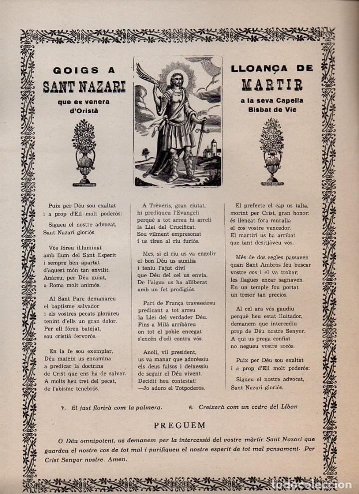 GOIGS A LLOANÇA DE SANT NAZARI, MÀRTIR EN ORISTÀ (IMP. ANGLADA, VICH, S.F.) (Coleccionismo - Laminas, Programas y Otros Documentos)