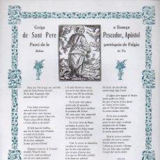 Coleccionismo: GOIGS A LLOANÇA DE SANT PERE PESCADOR, APÓSTOL EN FALGÀS DE VIC (IMP. BALMESIANA, VIC, 1976). Lote 87329564