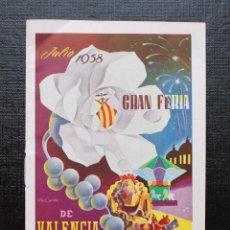 Coleccionismo: VALENCIA 1954, PROGRAMA OFICIAL DE LA GRAN FERIA DE VALENCIA JULIO DE 1954. Lote 88179020