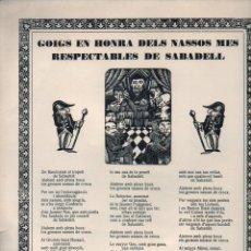 Coleccionismo: GOIGS EN HONRA DELS NASSOS MÉS RESPECTABLES DE SABADELL (IMP. SALLENT, SABADELL, 1929) PAPER DE FIL. Lote 90647175