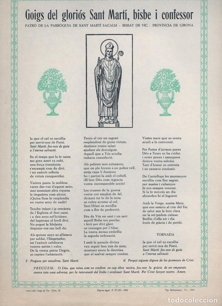 GOIGS DEL GLORIÓS SANT MARTÍ BISBE I CONFESSOR VENERAT A SANT MARTÍ SACALM (VIC, 1968) (Coleccionismo - Laminas, Programas y Otros Documentos)