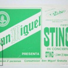Coleccionismo: TARJETA PUBLICITARIA - CERVEZA SAN MIGUEL / FIESTA CONCIERTO STING - MACRO DISCO OZONO, AÑOS 80. Lote 90946370