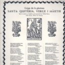 Coleccionismo: GOIGS DE LA GLORIOSA SANTA QUITÈRIA VERGE I MÀRTIR (1971) VILELLA BAIXA. Lote 91522320