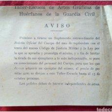 Coleccionismo: AVISO ARTES GRÁFICAS HUÉRFANOS DE LA GUARDIA CIVIL. Lote 91538518