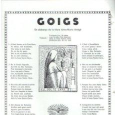 Coleccionismo: GOIGS EN ALABANÇA DE LA MARE ANNA MARÍA ANTIGÓ (PERPIGNAN, S.F.) . Lote 91634900