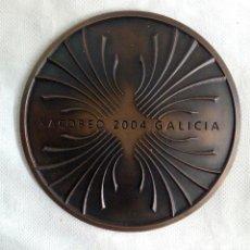 Coleccionismo: PLACA EN BRONCE - XACOBEO 2004 GALICIA - Ø 18 CM. 1740 G.. Lote 91800885