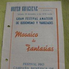 Coleccionismo: PROGRAMA ORFEO GRACIENC GRACIA BARCELONA . FESTIVAL DE ILUSIONISMO Y VARIEDADES . MAGIA 1959. Lote 92690885
