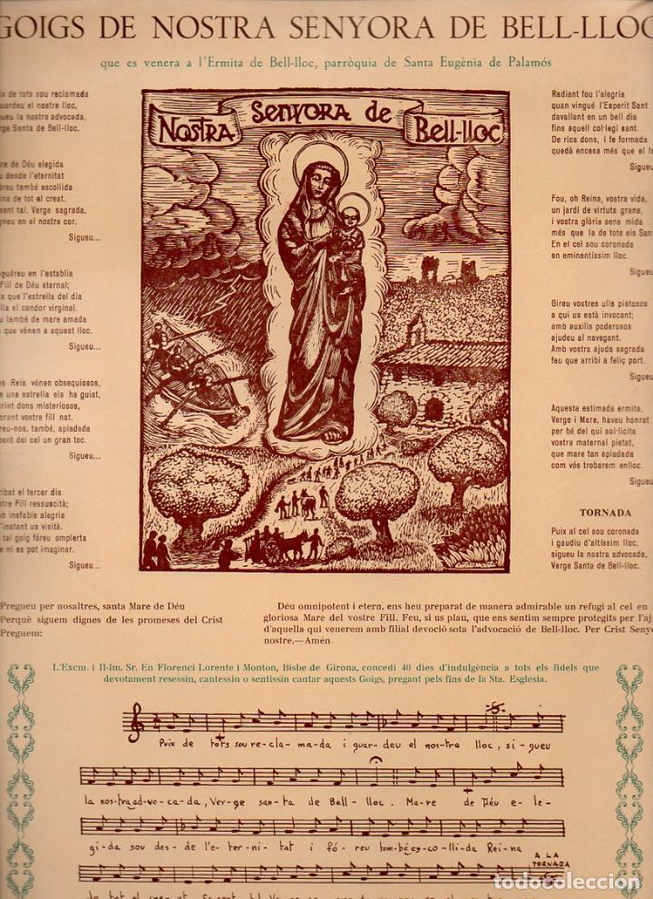 GOIGS DE NOSTRA SENYORA DE BELL.LLOC A PALAMÓS (1968) (Coleccionismo - Laminas, Programas y Otros Documentos)