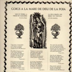 Coleccionismo: GOIGS A LA MARE DE DEU DE LA FOIA QUE ES VENERA A CABASSERS - TORTOSA (1968). Lote 93152110
