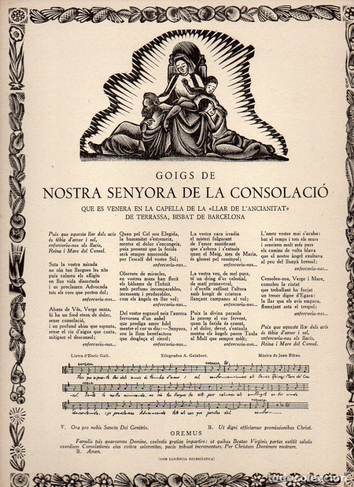 GOIGS DE NOSTRA SENYORA DE LA CONSOLACIÓ - LLAR DE L' ANCIANITAT, TERRASSA (1967) (Coleccionismo - Laminas, Programas y Otros Documentos)