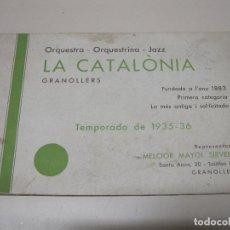 Coleccionismo - Folleto Publicitario Orquesta - Orquestrina - Jazz La Catalònia. Granollers. Temporada 1935 - 36 - 93369925