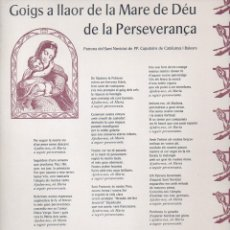 Coleccionismo: GOIGS A LLAOR DE LA MARE DE DEU DE LA PERSEVERANÇA (1965) . Lote 93894290
