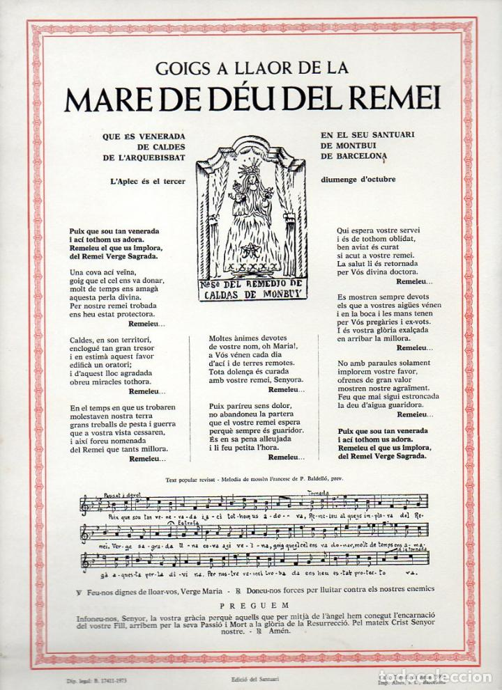 GOIGS A LLAOR DE LA MARE DE DÉU DEL REMEI - CALDES DE MONTBUI (1973) (Coleccionismo - Laminas, Programas y Otros Documentos)
