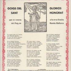 Coleccionismo: GOIGS DEL GLORIÓS SANT HONORAT DEL PUIG DE RANDA, MALLORCA (1980). Lote 93909775