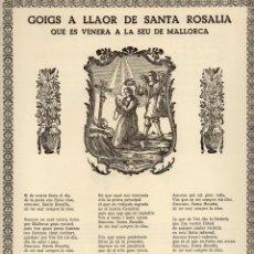 Coleccionismo: GOIGS A LLAOR DE SANTA ROSALIA QUE ES VENERA A LA SEU DE MALLORCA (1979). Lote 246508460