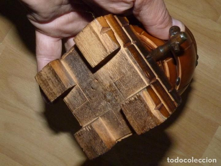 Coleccionismo: Curiosa tabaquera antigua cigarrera barril barrica Madera madera cigarrillo fumador - Foto 5 - 95081743